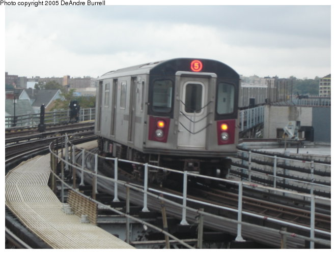 (65k, 660x500)<br><b>Country:</b> United States<br><b>City:</b> New York<br><b>System:</b> New York City Transit<br><b>Line:</b> IRT White Plains Road Line<br><b>Location:</b> East 180th Street <br><b>Route:</b> 5<br><b>Car:</b> R-142 or R-142A (Number Unknown)  <br><b>Photo by:</b> DeAndre Burrell<br><b>Date:</b> 10/23/2005<br><b>Viewed (this week/total):</b> 0 / 3436