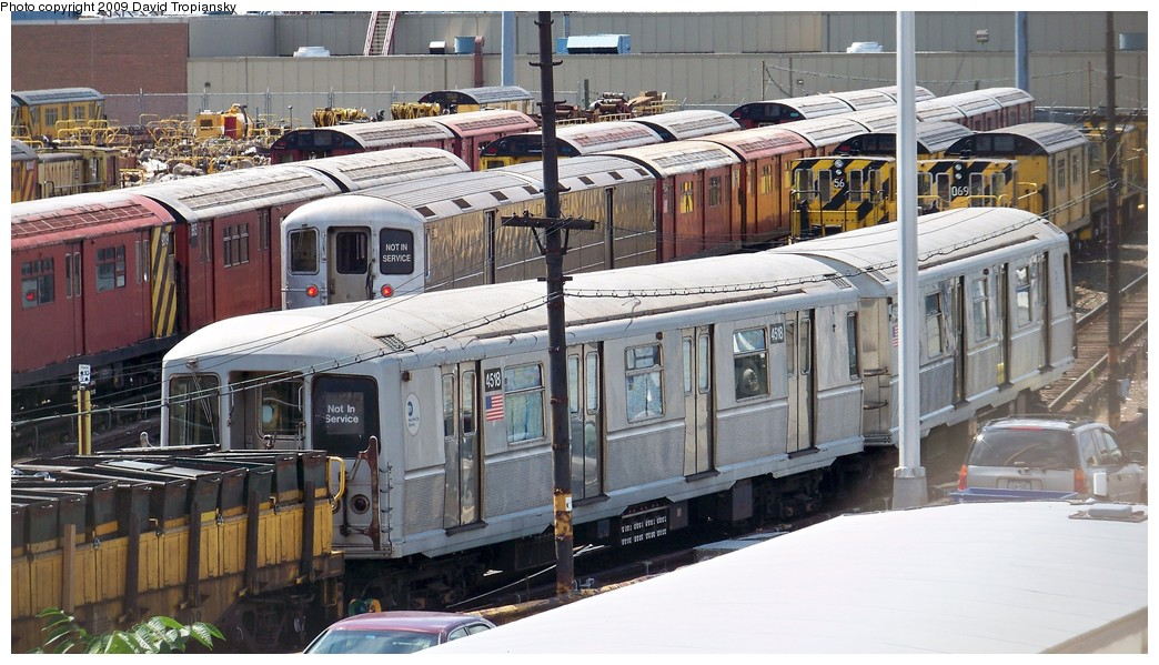 (224k, 1044x599)<br><b>Country:</b> United States<br><b>City:</b> New York<br><b>System:</b> New York City Transit<br><b>Location:</b> 36th Street Yard<br><b>Car:</b> R-40M (St. Louis, 1969)  4518 <br><b>Photo by:</b> David Tropiansky<br><b>Date:</b> 7/19/2009<br><b>Viewed (this week/total):</b> 1 / 1073