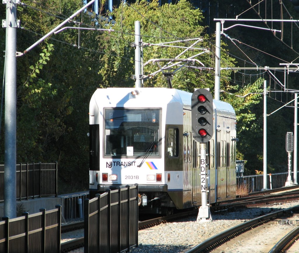 (267k, 1024x866)<br><b>Country:</b> United States<br><b>City:</b> Hoboken, NJ<br><b>System:</b> Hudson Bergen Light Rail<br><b>Location:</b> 9th Street <br><b>Car:</b> NJT-HBLR LRV (Kinki-Sharyo, 1998-99)  2031 <br><b>Photo by:</b> Brian Weinberg<br><b>Date:</b> 10/30/2005<br><b>Viewed (this week/total):</b> 2 / 2306