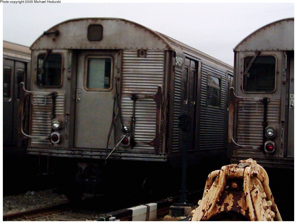 (151k, 1044x788)<br><b>Country:</b> United States<br><b>City:</b> New York<br><b>System:</b> New York City Transit<br><b>Location:</b> Coney Island Yard<br><b>Car:</b> R-32 (Budd, 1964)  3457 <br><b>Photo by:</b> Michael Hodurski<br><b>Date:</b> 3/2005<br><b>Viewed (this week/total):</b> 3 / 3598