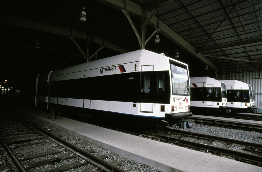 (165k, 912x600)<br><b>Country:</b> United States<br><b>City:</b> Jersey City, NJ<br><b>System:</b> Hudson Bergen Light Rail<br><b>Location:</b> HBLR Shops/Yard <br><b>Car:</b> NJT-HBLR LRV (Kinki-Sharyo, 1998-99)  2021 <br><b>Photo by:</b> Chris Leverett<br><b>Date:</b> 10/16/2004<br><b>Viewed (this week/total):</b> 0 / 1195