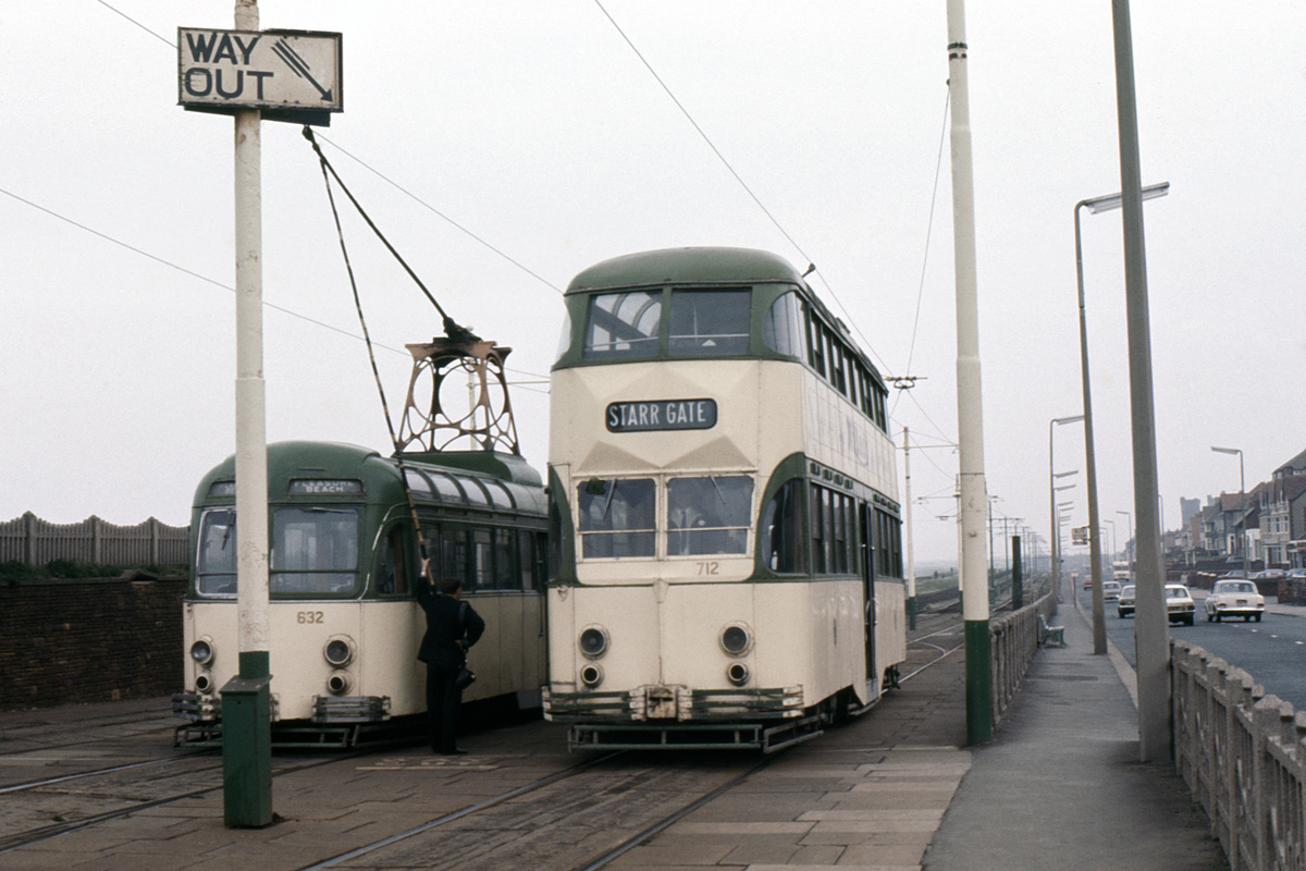 (192k, 1024x691)<br><b>Country:</b> United Kingdom<br><b>City:</b> Blackpool<br><b>System:</b> Blackpool Transport<br><b>Car:</b> Blackpool Brush (Brush, 1937)  632/712 <br><b>Collection of:</b> David Pirmann/Frank Hicks<br><b>Notes:</b> Photo taken between 1968 and 1971.<br><b>Viewed (this week/total):</b> 2 / 1397