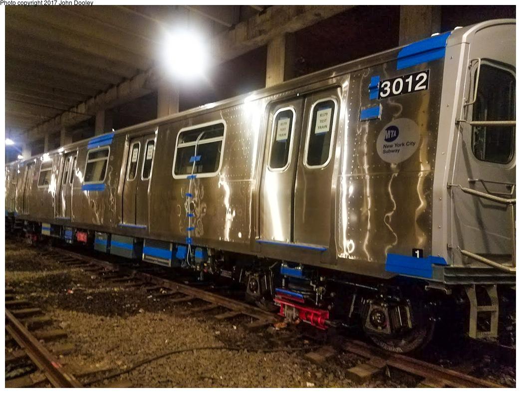 (364k, 1044x788)<br><b>Country:</b> United States<br><b>City:</b> New York<br><b>System:</b> New York City Transit<br><b>Location:</b> Pitkin Yard/Shops<br><b>Car:</b> R-179 (Bombardier, 2016-) 3012 <br><b>Photo by:</b> John Dooley<br><b>Date:</b> 4/28/2017<br><b>Notes:</b> R-179 test train at Pitkin Yard.<br><b>Viewed (this week/total):</b> 10 / 741