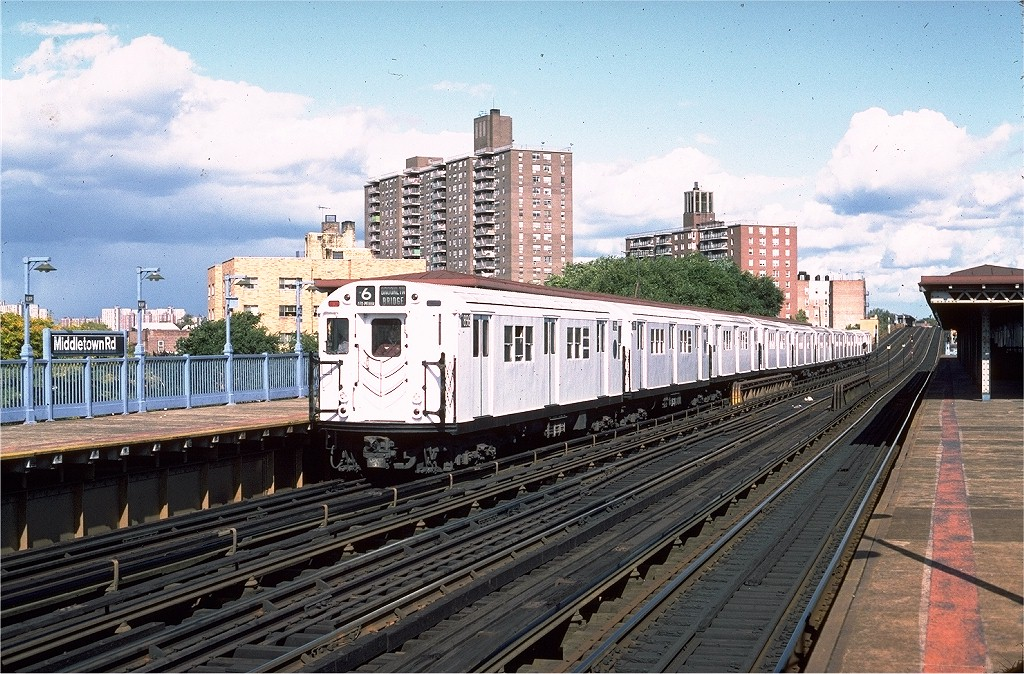 (262k, 1024x674)<br><b>Country:</b> United States<br><b>City:</b> New York<br><b>System:</b> New York City Transit<br><b>Line:</b> IRT Pelham Line<br><b>Location:</b> Middletown Road <br><b>Route:</b> 6<br><b>Car:</b> R-28 (American Car & Foundry, 1960-61) 7896 <br><b>Photo by:</b> Steve Zabel<br><b>Collection of:</b> Joe Testagrose<br><b>Date:</b> 10/16/1982<br><b>Viewed (this week/total):</b> 4 / 3906