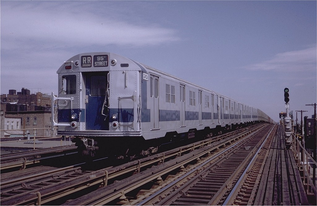 (197k, 1024x667)<br><b>Country:</b> United States<br><b>City:</b> New York<br><b>System:</b> New York City Transit<br><b>Line:</b> BMT Astoria Line<br><b>Location:</b> 39th/Beebe Aves. <br><b>Route:</b> RR<br><b>Car:</b> R-30 (St. Louis, 1961) 8320 <br><b>Photo by:</b> Steve Zabel<br><b>Collection of:</b> Joe Testagrose<br><b>Date:</b> 3/28/1971<br><b>Viewed (this week/total):</b> 1 / 3128