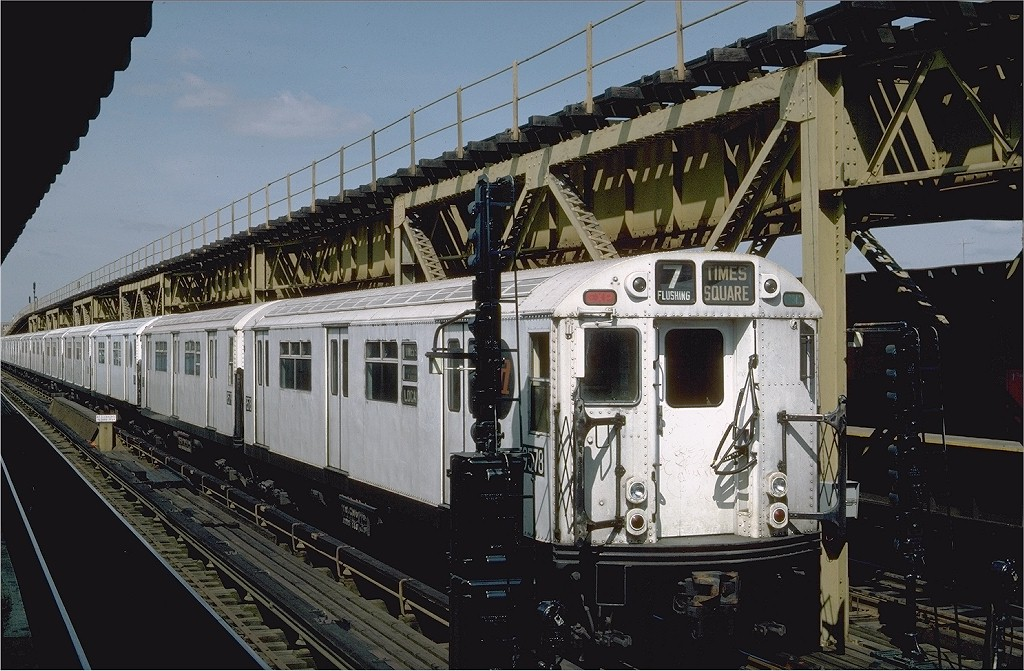 (218k, 1024x671)<br><b>Country:</b> United States<br><b>City:</b> New York<br><b>System:</b> New York City Transit<br><b>Line:</b> IRT Flushing Line<br><b>Location:</b> 111th Street <br><b>Route:</b> 7<br><b>Car:</b> R-36 World's Fair (St. Louis, 1963-64) 9578 <br><b>Photo by:</b> Steve Zabel<br><b>Collection of:</b> Joe Testagrose<br><b>Date:</b> 6/14/1984<br><b>Viewed (this week/total):</b> 0 / 3957