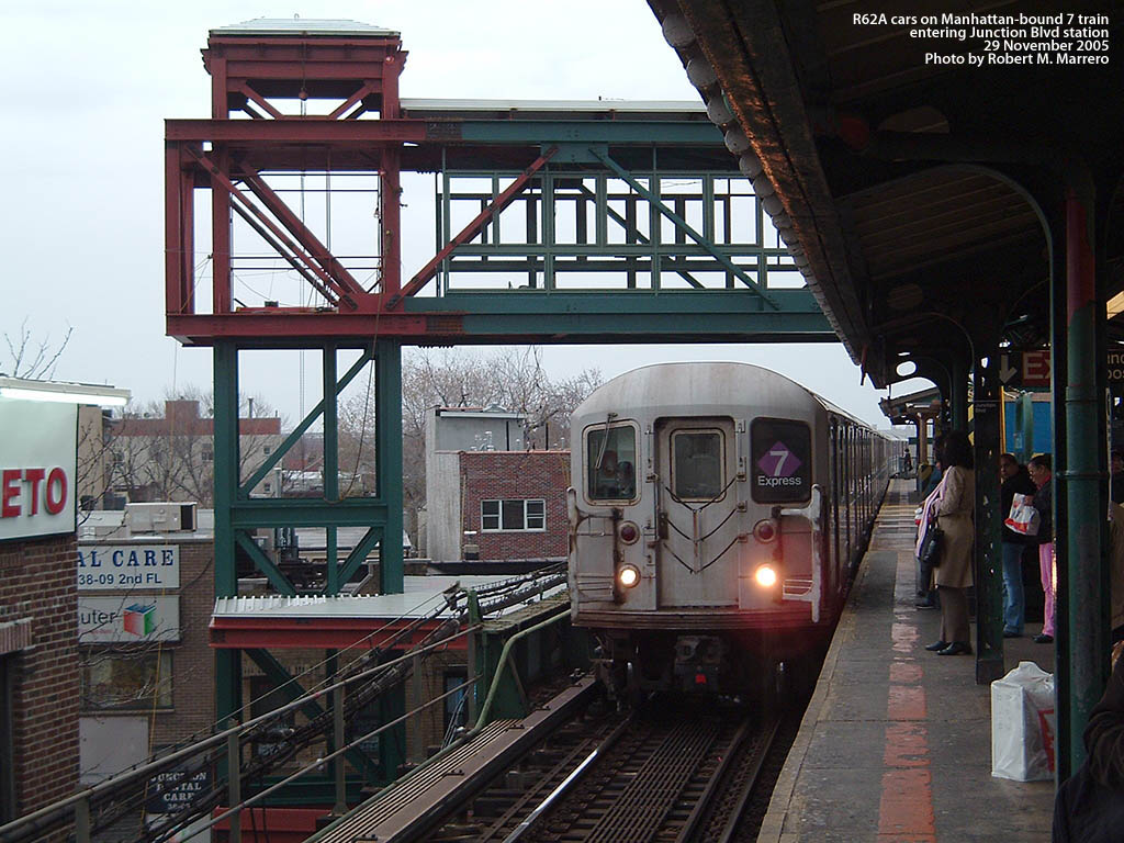 (196k, 1024x768)<br><b>Country:</b> United States<br><b>City:</b> New York<br><b>System:</b> New York City Transit<br><b>Line:</b> IRT Flushing Line<br><b>Location:</b> Junction Boulevard <br><b>Car:</b> R-62A (Bombardier, 1984-1987)   <br><b>Photo by:</b> Robert Marrero<br><b>Date:</b> 11/29/2005<br><b>Notes:</b> New ADA elevator tower under construction.<br><b>Viewed (this week/total):</b> 2 / 2475