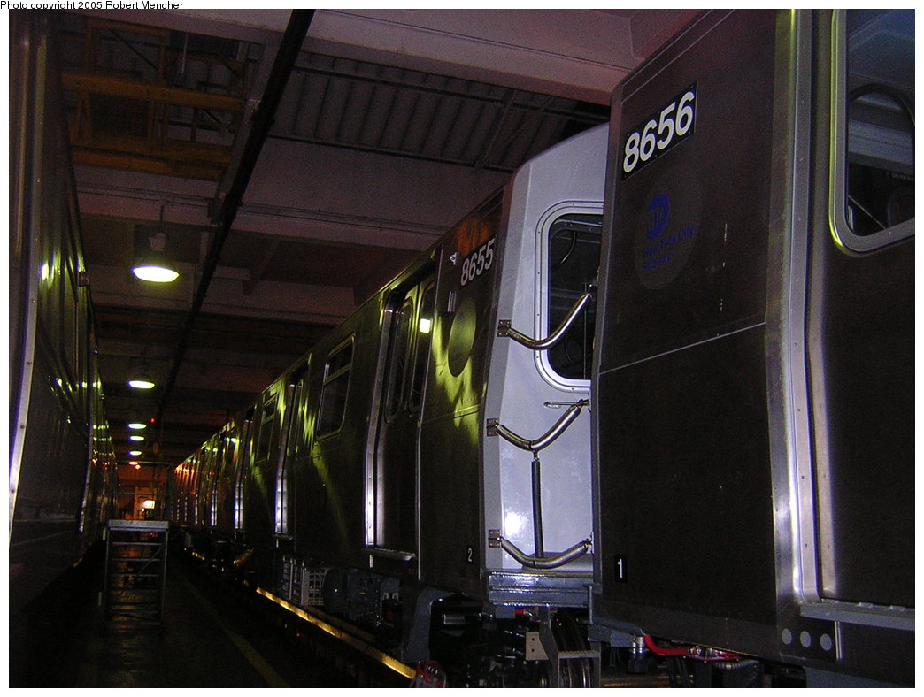 (198k, 1044x788)<br><b>Country:</b> United States<br><b>City:</b> New York<br><b>System:</b> New York City Transit<br><b>Location:</b> Pitkin Yard/Shops<br><b>Car:</b> R-160A-2 (Alstom, 2005-2008, 5 car sets)  8655 <br><b>Photo by:</b> Robert Mencher<br><b>Date:</b> 12/8/2005<br><b>Viewed (this week/total):</b> 1 / 2321