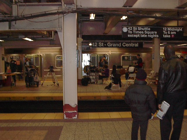(92k, 640x480)<br><b>Country:</b> United States<br><b>City:</b> New York<br><b>System:</b> New York City Transit<br><b>Line:</b> IRT Times Square-Grand Central Shuttle<br><b>Location:</b> Grand Central <br><b>Photo by:</b> Bruce Fedow<br><b>Date:</b> 11/17/2005<br><b>Notes:</b> Grand Central shuttle station during a film/tv shoot.<br><b>Viewed (this week/total):</b> 3 / 3315