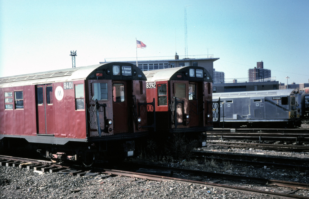 (247k, 1024x661)<br><b>Country:</b> United States<br><b>City:</b> New York<br><b>System:</b> New York City Transit<br><b>Location:</b> Coney Island Yard<br><b>Car:</b> R-30 (St. Louis, 1961) 8401/8392 <br><b>Photo by:</b> Chris Leverett<br><b>Date:</b> 12/8/1996<br><b>Notes:</b> With and Money Train 51050.<br><b>Viewed (this week/total):</b> 3 / 3856