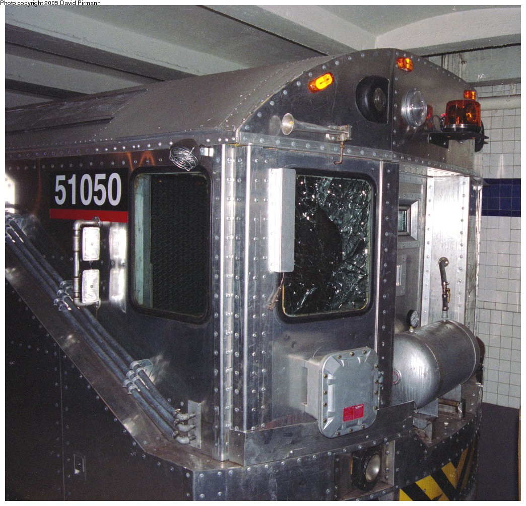 (296k, 1044x1004)<br><b>Country:</b> United States<br><b>City:</b> New York<br><b>System:</b> New York City Transit<br><b>Location:</b> New York Transit Museum<br><b>Car:</b> Columbia Pictures <i>Money Train</i> 51050 <br><b>Photo by:</b> David Pirmann<br><b>Date:</b> 12/10/1995<br><b>Notes:</b> Former R22 car rebuilt for use in the film <i>Money Train</i>.<br><b>Viewed (this week/total):</b> 6 / 7538