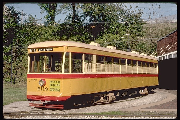 (175k, 768x512)<br><b>Country:</b> United States<br><b>City:</b> Baltimore, MD<br><b>System:</b> Baltimore Streetcar Museum <br><b>Car:</b>  6119 <br><b>Photo by:</b> Eric Oszustowicz<br><b>Collection of:</b> Joe Testagrose<br><b>Date:</b> 10/20/1990<br><b>Viewed (this week/total):</b> 1 / 1067