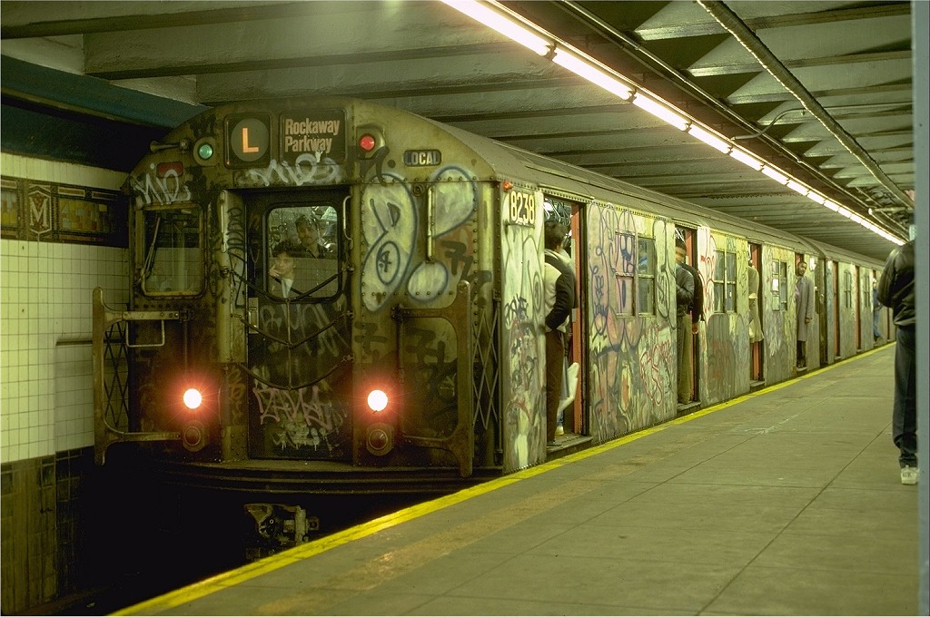 (208k, 1024x680)<br><b>Country:</b> United States<br><b>City:</b> New York<br><b>System:</b> New York City Transit<br><b>Line:</b> BMT Canarsie Line<br><b>Location:</b> Myrtle Avenue <br><b>Route:</b> L<br><b>Car:</b> R-27 (St. Louis, 1960)  8238 <br><b>Photo by:</b> Eric Oszustowicz<br><b>Collection of:</b> Joe Testagrose<br><b>Date:</b> 3/9/1987<br><b>Viewed (this week/total):</b> 1 / 5738