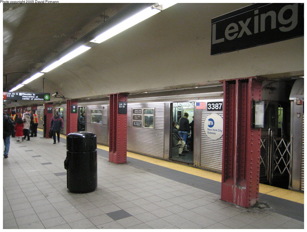 (180k, 1044x788)<br><b>Country:</b> United States<br><b>City:</b> New York<br><b>System:</b> New York City Transit<br><b>Line:</b> IND Queens Boulevard Line<br><b>Location:</b> Lexington Avenue-53rd Street <br><b>Route:</b> E<br><b>Car:</b> R-32 (Budd, 1964)  3387 <br><b>Photo by:</b> David Pirmann<br><b>Date:</b> 12/30/2005<br><b>Viewed (this week/total):</b> 13 / 4265