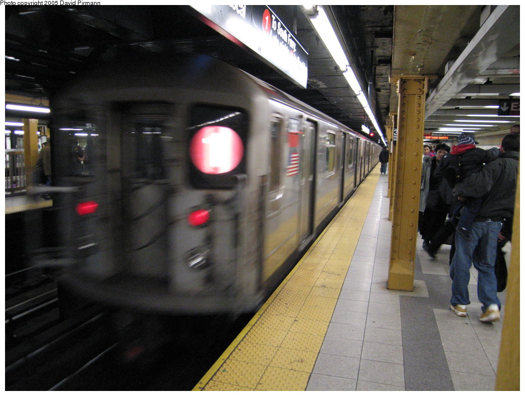 (174k, 1044x788)<br><b>Country:</b> United States<br><b>City:</b> New York<br><b>System:</b> New York City Transit<br><b>Line:</b> IRT West Side Line<br><b>Location:</b> 34th Street/Penn Station <br><b>Route:</b> 1<br><b>Car:</b> R-62A (Bombardier, 1984-1987)  2160 <br><b>Photo by:</b> David Pirmann<br><b>Date:</b> 12/30/2005<br><b>Viewed (this week/total):</b> 0 / 3209
