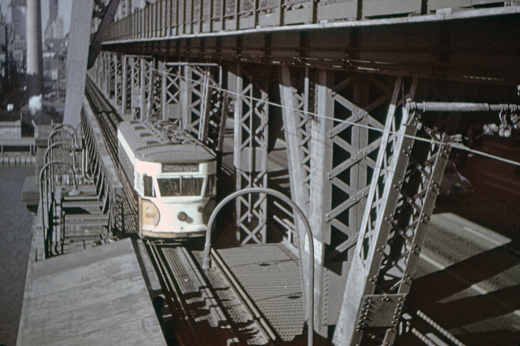 (242k, 1024x692)<br><b>Country:</b> United States<br><b>City:</b> New York<br><b>System:</b> Queensborough Bridge Railway<br><b>Location:</b> Queensborough Bridge <br><b>Car:</b>  602 <br><b>Collection of:</b> David Pirmann<br><b>Viewed (this week/total):</b> 1 / 1699