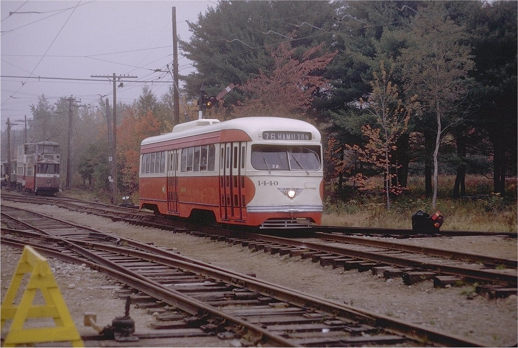 (267k, 1024x688)<br><b>Country:</b> United States<br><b>City:</b> Kennebunk, ME<br><b>System:</b> Seashore Trolley Museum <br><b>Car:</b> Pittsburgh Railways/PAT PCC 1440 <br><b>Photo by:</b> Joe Testagrose<br><b>Date:</b> 10/10/1970<br><b>Viewed (this week/total):</b> 0 / 1015