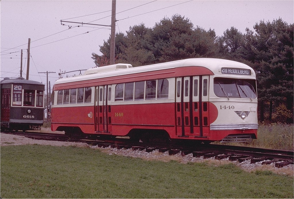 (273k, 1024x693)<br><b>Country:</b> United States<br><b>City:</b> Kennebunk, ME<br><b>System:</b> Seashore Trolley Museum <br><b>Car:</b> Pittsburgh Railways/PAT PCC 1440 <br><b>Photo by:</b> Joe Testagrose<br><b>Date:</b> 10/11/1970<br><b>Viewed (this week/total):</b> 1 / 1219