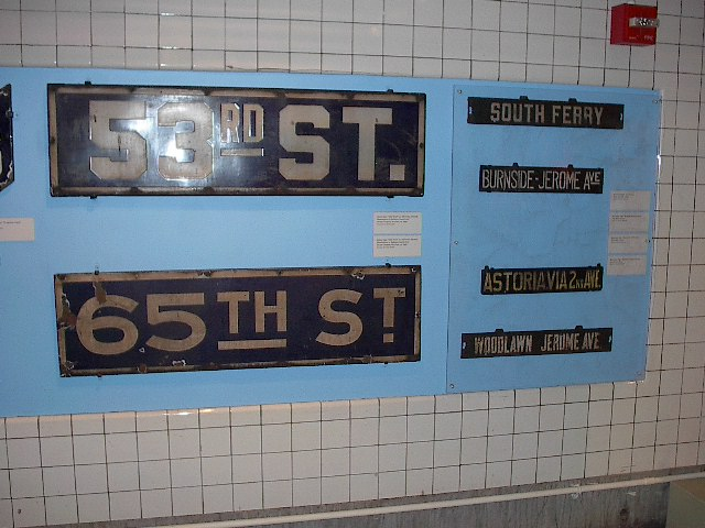 (87k, 640x480)<br><b>Country:</b> United States<br><b>City:</b> New York<br><b>System:</b> New York City Transit<br><b>Location:</b> New York Transit Museum<br><b>Photo by:</b> Bruce Fedow<br><b>Date:</b> 12/28/2005<br><b>Notes:</b> Signage collection at Transit Museum.<br><b>Viewed (this week/total):</b> 0 / 1740