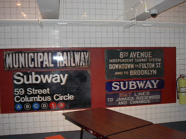 (102k, 640x480)<br><b>Country:</b> United States<br><b>City:</b> New York<br><b>System:</b> New York City Transit<br><b>Location:</b> New York Transit Museum<br><b>Photo by:</b> Bruce Fedow<br><b>Date:</b> 12/28/2005<br><b>Notes:</b> Signage collection at Transit Museum.<br><b>Viewed (this week/total):</b> 2 / 2547