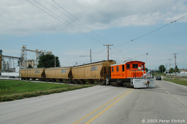 (108k, 720x478)<br><b>Country:</b> United States<br><b>City:</b> Mason City, IA<br><b>System:</b> Iowa Traction<br><b>Location:</b> Iowa Traction--AGP Soybean/S. 19th Street/UP and IC&E Interchange Area<br><b>Car:</b>  54 <br><b>Photo by:</b> Peter Ehrlich<br><b>Date:</b> 8/31/2005<br><b>Notes:</b> Crossing 19th Street.<br><b>Viewed (this week/total):</b> 6 / 1631