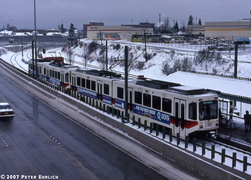 (221k, 864x618)<br><b>Country:</b> United States<br><b>City:</b> Portland, OR<br><b>System:</b> Portland MAX<br><b>Line:</b> MAX Blue (East-West) Line<br><b>Location:</b> NE 60th <br><b>Car:</b> MAX Type 1 (Bombardier)  122+120 <br><b>Photo by:</b> Peter Ehrlich<br><b>Date:</b> 3/2/1989<br><b>Viewed (this week/total):</b> 5 / 1842