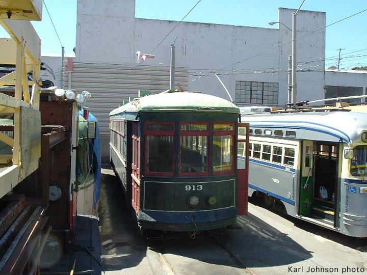(176k, 720x540)<br><b>Country:</b> United States<br><b>City:</b> San Francisco/Bay Area, CA<br><b>System:</b> SF MUNI<br><b>Location:</b> Geneva Yard <br><b>Car:</b> New Orleans Public Service (Perley A. Thomas Car Works, 1924) 913 <br><b>Photo by:</b> Karl Johnson<br><b>Collection of:</b> Peter Ehrlich<br><b>Date:</b> 8/29/2005<br><b>Notes:</b> Just after unloading.<br><b>Viewed (this week/total):</b> 0 / 1439