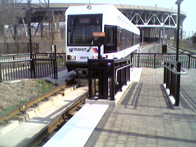 (55k, 640x480)<br><b>Country:</b> United States<br><b>City:</b> Weehawken, NJ<br><b>System:</b> Hudson Bergen Light Rail<br><b>Location:</b> Lincoln Harbor <br><b>Car:</b> NJT-HBLR LRV (Kinki-Sharyo, 1998-99)  2037 <br><b>Photo by:</b> Pablo Maneiro<br><b>Date:</b> 4/1/2006<br><b>Viewed (this week/total):</b> 0 / 2139
