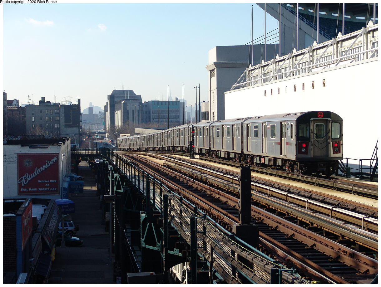 (275k, 1044x788)<br><b>Country:</b> United States<br><b>City:</b> New York<br><b>System:</b> New York City Transit<br><b>Line:</b> IRT Woodlawn Line<br><b>Location:</b> 161st Street/River Avenue (Yankee Stadium) <br><b>Route:</b> 4<br><b>Car:</b> R-142 (Option Order, Bombardier, 2002-2003)  7106 <br><b>Photo by:</b> Richard Panse<br><b>Date:</b> 1/24/2006<br><b>Viewed (this week/total):</b> 2 / 3793