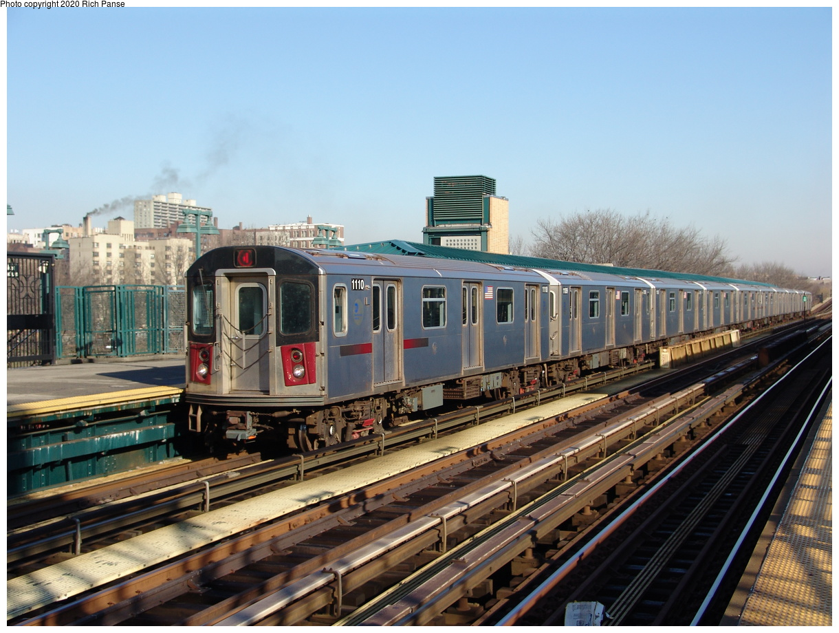 (254k, 1044x788)<br><b>Country:</b> United States<br><b>City:</b> New York<br><b>System:</b> New York City Transit<br><b>Line:</b> IRT Woodlawn Line<br><b>Location:</b> 161st Street/River Avenue (Yankee Stadium) <br><b>Route:</b> 4<br><b>Car:</b> R-142 (Option Order, Bombardier, 2002-2003)  1110 <br><b>Photo by:</b> Richard Panse<br><b>Date:</b> 1/24/2006<br><b>Viewed (this week/total):</b> 2 / 3311