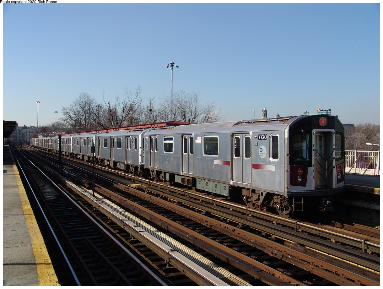 (246k, 1044x788)<br><b>Country:</b> United States<br><b>City:</b> New York<br><b>System:</b> New York City Transit<br><b>Line:</b> IRT Woodlawn Line<br><b>Location:</b> Bedford Park Boulevard <br><b>Route:</b> 4<br><b>Car:</b> R-142A (Option Order, Kawasaki, 2002-2003)  7720 <br><b>Photo by:</b> Richard Panse<br><b>Date:</b> 1/24/2006<br><b>Viewed (this week/total):</b> 2 / 2589