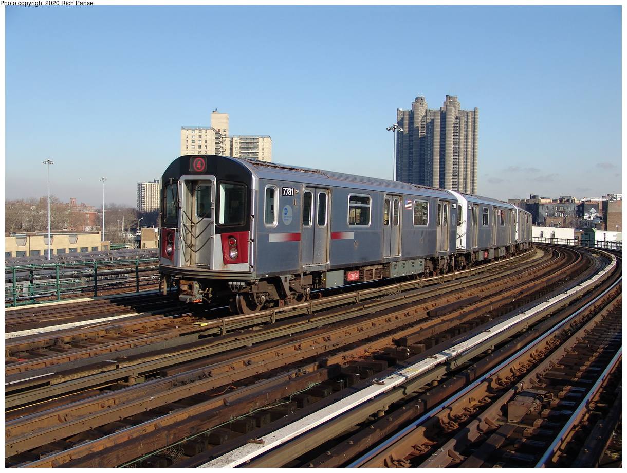 (273k, 1044x788)<br><b>Country:</b> United States<br><b>City:</b> New York<br><b>System:</b> New York City Transit<br><b>Line:</b> IRT Woodlawn Line<br><b>Location:</b> Bedford Park Boulevard <br><b>Route:</b> 4<br><b>Car:</b> R-142A (Supplemental Order, Kawasaki, 2003-2004)  7781 <br><b>Photo by:</b> Richard Panse<br><b>Date:</b> 1/24/2006<br><b>Viewed (this week/total):</b> 7 / 3994