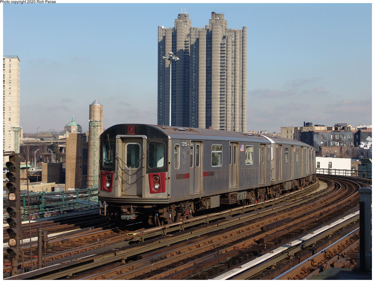 (267k, 1044x788)<br><b>Country:</b> United States<br><b>City:</b> New York<br><b>System:</b> New York City Transit<br><b>Line:</b> IRT Woodlawn Line<br><b>Location:</b> Bedford Park Boulevard <br><b>Route:</b> 4<br><b>Car:</b> R-142 (Option Order, Bombardier, 2002-2003)  1215 <br><b>Photo by:</b> Richard Panse<br><b>Date:</b> 1/24/2006<br><b>Viewed (this week/total):</b> 2 / 3283