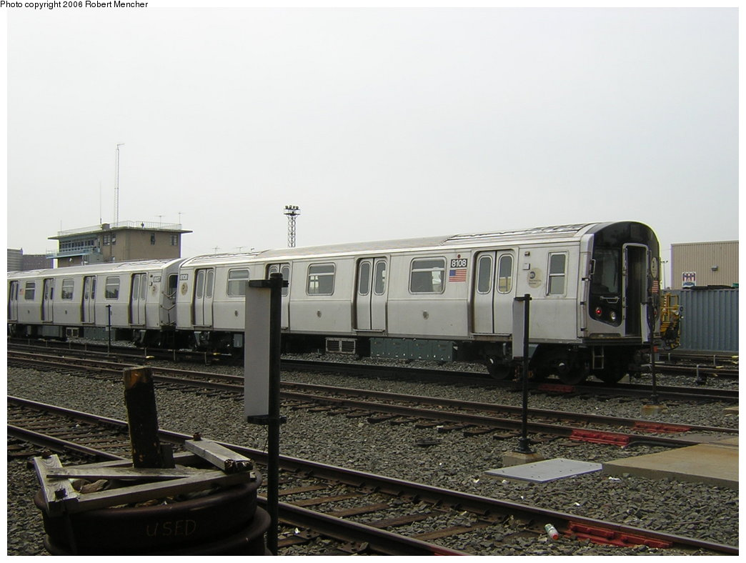 (177k, 1044x788)<br><b>Country:</b> United States<br><b>City:</b> New York<br><b>System:</b> New York City Transit<br><b>Location:</b> Coney Island Yard<br><b>Car:</b> R-143 (Kawasaki, 2001-2002) 8108 <br><b>Photo by:</b> Robert Mencher<br><b>Date:</b> 2/10/2006<br><b>Viewed (this week/total):</b> 0 / 2402
