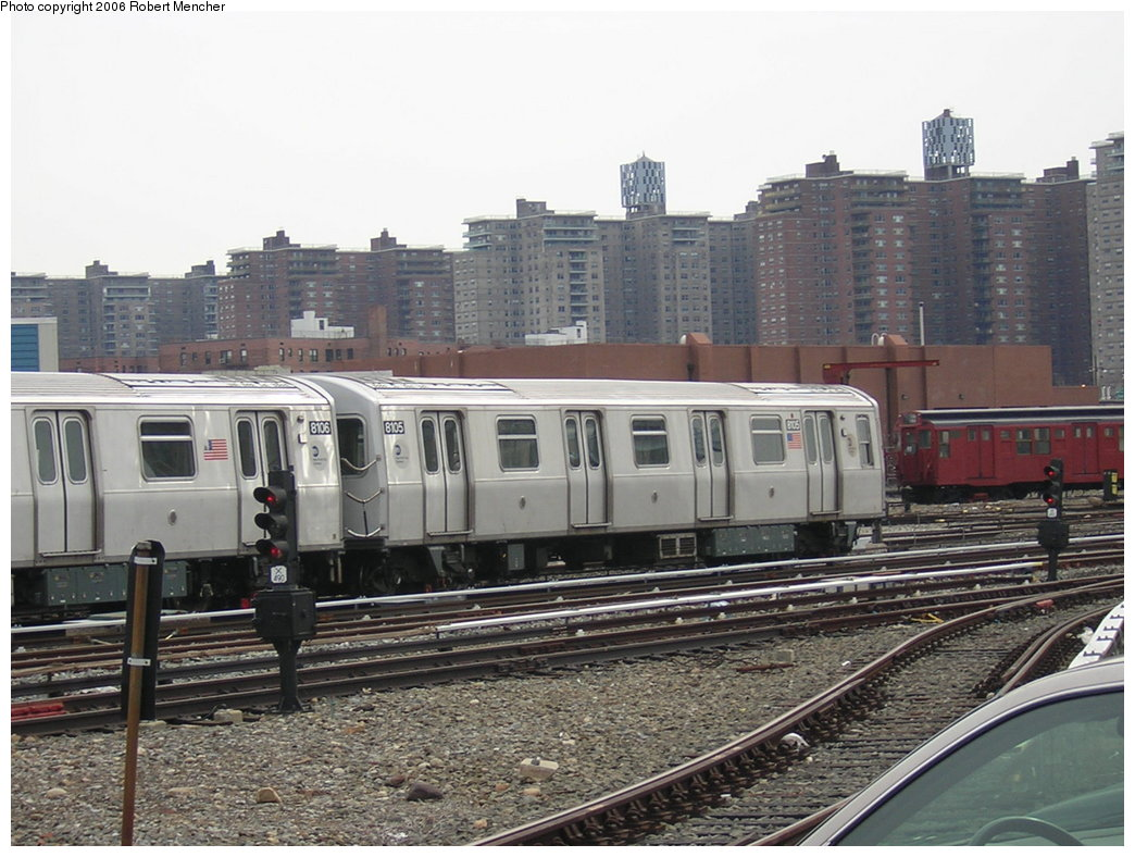 (213k, 1044x788)<br><b>Country:</b> United States<br><b>City:</b> New York<br><b>System:</b> New York City Transit<br><b>Location:</b> Coney Island Yard<br><b>Car:</b> R-143 (Kawasaki, 2001-2002) 8105 <br><b>Photo by:</b> Robert Mencher<br><b>Date:</b> 2/10/2006<br><b>Viewed (this week/total):</b> 1 / 2629