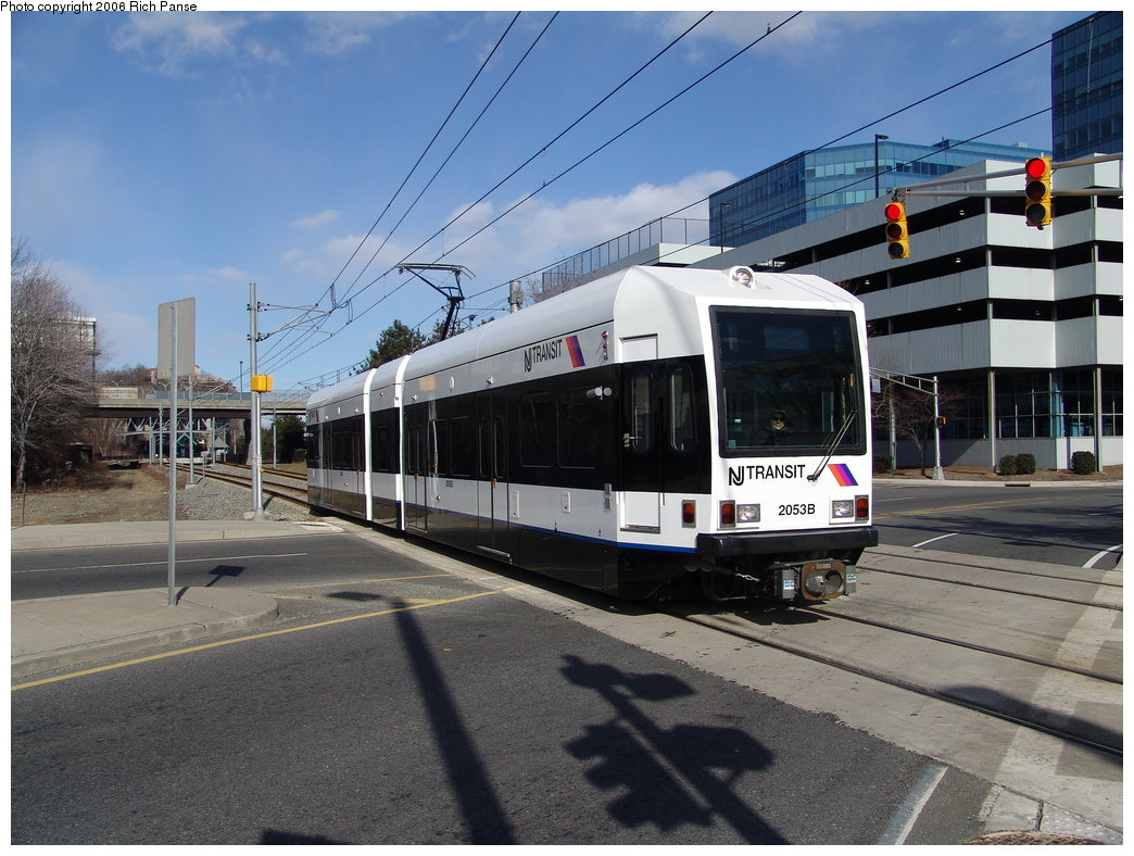 (194k, 1044x788)<br><b>Country:</b> United States<br><b>City:</b> Weehawken, NJ<br><b>System:</b> Hudson Bergen Light Rail<br><b>Location:</b> Lincoln Harbor <br><b>Car:</b> NJT-HBLR LRV (Kinki-Sharyo, 1998-99)  2053 <br><b>Photo by:</b> Richard Panse<br><b>Date:</b> 2/26/2006<br><b>Viewed (this week/total):</b> 0 / 1665