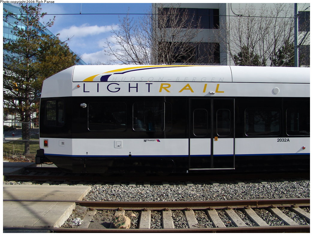 (244k, 1044x788)<br><b>Country:</b> United States<br><b>City:</b> Weehawken, NJ<br><b>System:</b> Hudson Bergen Light Rail<br><b>Location:</b> Lincoln Harbor <br><b>Car:</b> NJT-HBLR LRV (Kinki-Sharyo, 1998-99)  2032 <br><b>Photo by:</b> Richard Panse<br><b>Date:</b> 2/26/2006<br><b>Viewed (this week/total):</b> 1 / 1738
