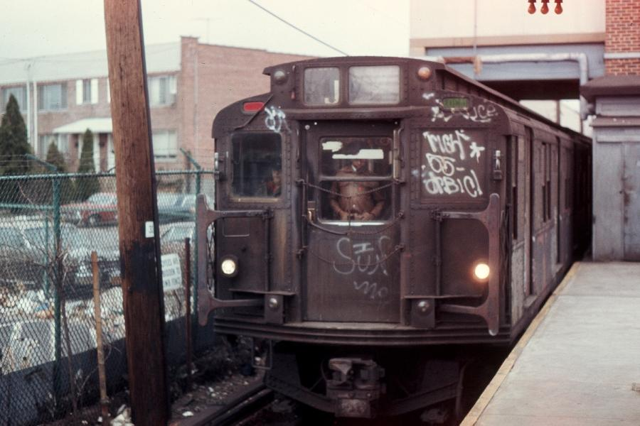 (70k, 900x600)<br><b>Country:</b> United States<br><b>City:</b> New York<br><b>System:</b> New York City Transit<br><b>Line:</b> BMT Canarsie Line<br><b>Location:</b> Rockaway Parkway <br><b>Route:</b> LL<br><b>Car:</b> R-1/R-9 Series   <br><b>Photo by:</b> Harv Kahn<br><b>Date:</b> 3/31/1976<br><b>Viewed (this week/total):</b> 6 / 2591