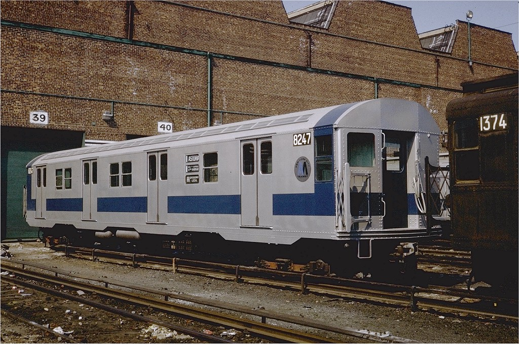 (302k, 1024x678)<br><b>Country:</b> United States<br><b>City:</b> New York<br><b>System:</b> New York City Transit<br><b>Location:</b> Coney Island Yard<br><b>Car:</b> R-27 (St. Louis, 1960)  8247 <br><b>Photo by:</b> Steve Zabel<br><b>Collection of:</b> Joe Testagrose<br><b>Date:</b> 4/23/1971<br><b>Viewed (this week/total):</b> 2 / 2092