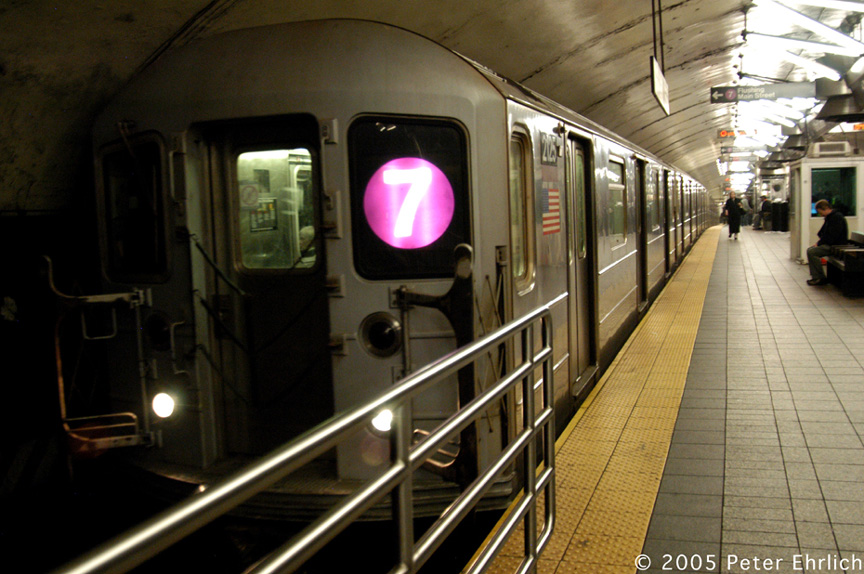 (199k, 864x574)<br><b>Country:</b> United States<br><b>City:</b> New York<br><b>System:</b> New York City Transit<br><b>Line:</b> IRT Flushing Line<br><b>Location:</b> Grand Central <br><b>Route:</b> 7<br><b>Car:</b> R-62A (Bombardier, 1984-1987)  2125 <br><b>Photo by:</b> Peter Ehrlich<br><b>Date:</b> 12/30/2005<br><b>Viewed (this week/total):</b> 1 / 1780