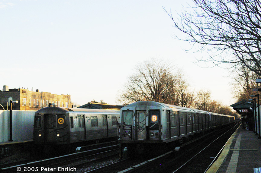 (239k, 864x574)<br><b>Country:</b> United States<br><b>City:</b> New York<br><b>System:</b> New York City Transit<br><b>Line:</b> BMT Brighton Line<br><b>Location:</b> Avenue M <br><b>Route:</b> B<br><b>Car:</b> R-40 (St. Louis, 1968)  4441 <br><b>Photo by:</b> Peter Ehrlich<br><b>Date:</b> 12/30/2005<br><b>Notes:</b> With R68A 5064 on Q.<br><b>Viewed (this week/total):</b> 3 / 3323