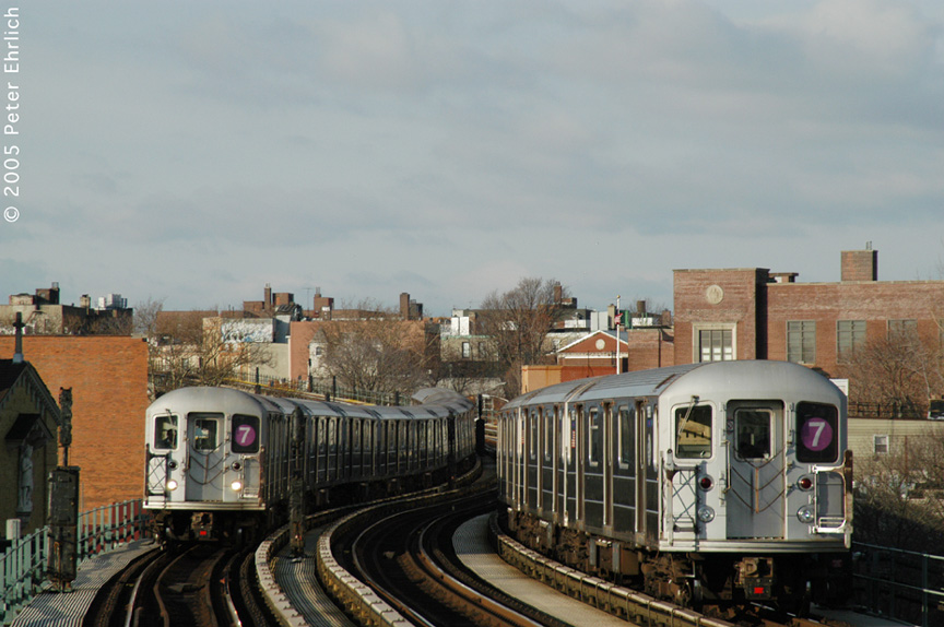 (180k, 864x574)<br><b>Country:</b> United States<br><b>City:</b> New York<br><b>System:</b> New York City Transit<br><b>Line:</b> IRT Flushing Line<br><b>Location:</b> 61st Street/Woodside <br><b>Route:</b> 7<br><b>Car:</b> R-62A (Bombardier, 1984-1987)  1938 <br><b>Photo by:</b> Peter Ehrlich<br><b>Date:</b> 12/30/2005<br><b>Viewed (this week/total):</b> 3 / 2211