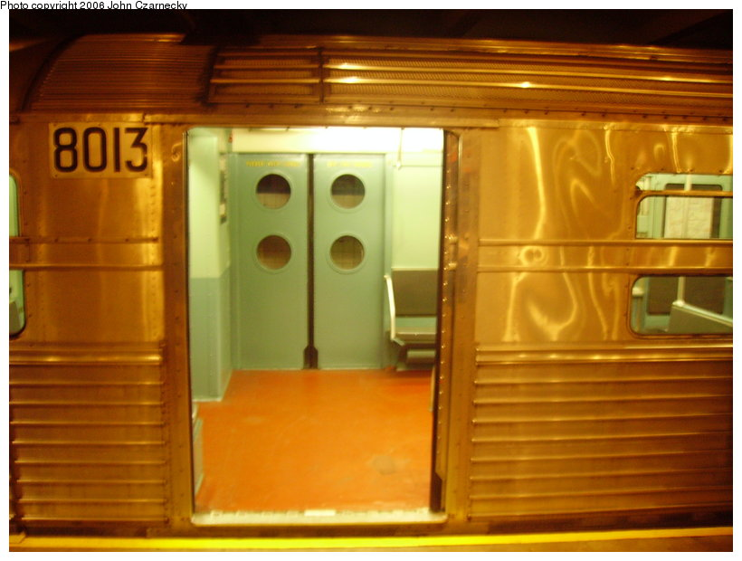 (110k, 820x620)<br><b>Country:</b> United States<br><b>City:</b> New York<br><b>System:</b> New York City Transit<br><b>Location:</b> New York Transit Museum<br><b>Car:</b> R-11 (Budd, 1949) 8013 <br><b>Photo by:</b> John Czarnecky<br><b>Date:</b> 2/28/2006<br><b>Viewed (this week/total):</b> 2 / 2922