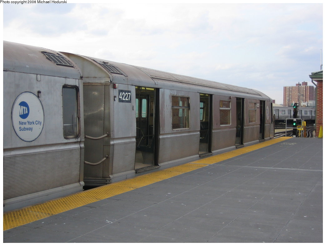 (125k, 1044x788)<br><b>Country:</b> United States<br><b>City:</b> New York<br><b>System:</b> New York City Transit<br><b>Location:</b> Coney Island/Stillwell Avenue<br><b>Route:</b> N<br><b>Car:</b> R-40 (St. Louis, 1968)  4227 <br><b>Photo by:</b> Michael Hodurski<br><b>Date:</b> 3/10/2006<br><b>Viewed (this week/total):</b> 1 / 2304