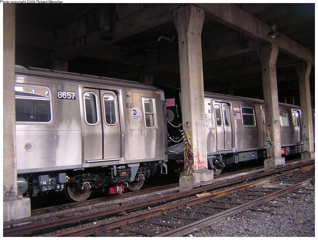 (236k, 1044x788)<br><b>Country:</b> United States<br><b>City:</b> New York<br><b>System:</b> New York City Transit<br><b>Location:</b> Pitkin Yard/Shops<br><b>Car:</b> R-160A-2 (Alstom, 2005-2008, 5 car sets)  8657/8658 <br><b>Photo by:</b> Robert Mencher<br><b>Date:</b> 3/25/2006<br><b>Viewed (this week/total):</b> 0 / 5892