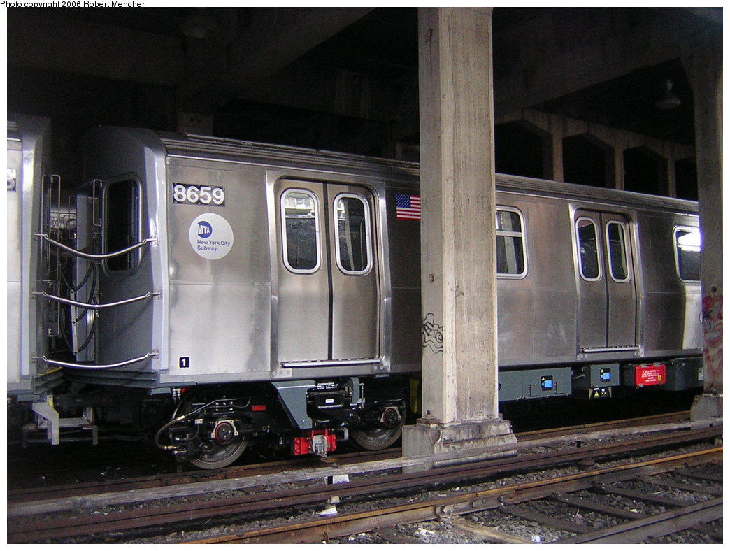 (216k, 1044x788)<br><b>Country:</b> United States<br><b>City:</b> New York<br><b>System:</b> New York City Transit<br><b>Location:</b> Pitkin Yard/Shops<br><b>Car:</b> R-160A-2 (Alstom, 2005-2008, 5 car sets)  8659 <br><b>Photo by:</b> Robert Mencher<br><b>Date:</b> 3/25/2006<br><b>Viewed (this week/total):</b> 1 / 3374