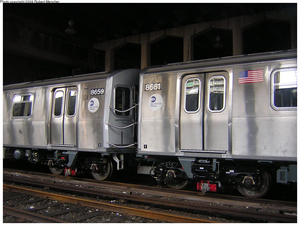 (193k, 1044x788)<br><b>Country:</b> United States<br><b>City:</b> New York<br><b>System:</b> New York City Transit<br><b>Location:</b> Pitkin Yard/Shops<br><b>Car:</b> R-160A-2 (Alstom, 2005-2008, 5 car sets)  8659/8661 <br><b>Photo by:</b> Robert Mencher<br><b>Date:</b> 3/25/2006<br><b>Viewed (this week/total):</b> 2 / 4727