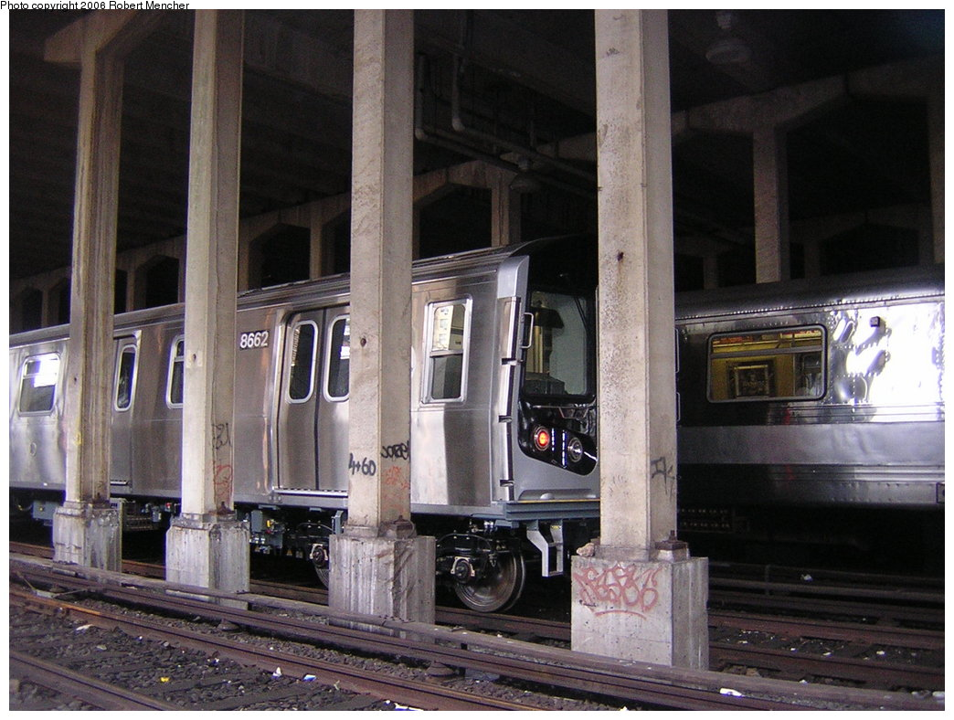 (215k, 1044x788)<br><b>Country:</b> United States<br><b>City:</b> New York<br><b>System:</b> New York City Transit<br><b>Location:</b> Pitkin Yard/Shops<br><b>Car:</b> R-160A-2 (Alstom, 2005-2008, 5 car sets)  8662 <br><b>Photo by:</b> Robert Mencher<br><b>Date:</b> 3/25/2006<br><b>Viewed (this week/total):</b> 3 / 4387