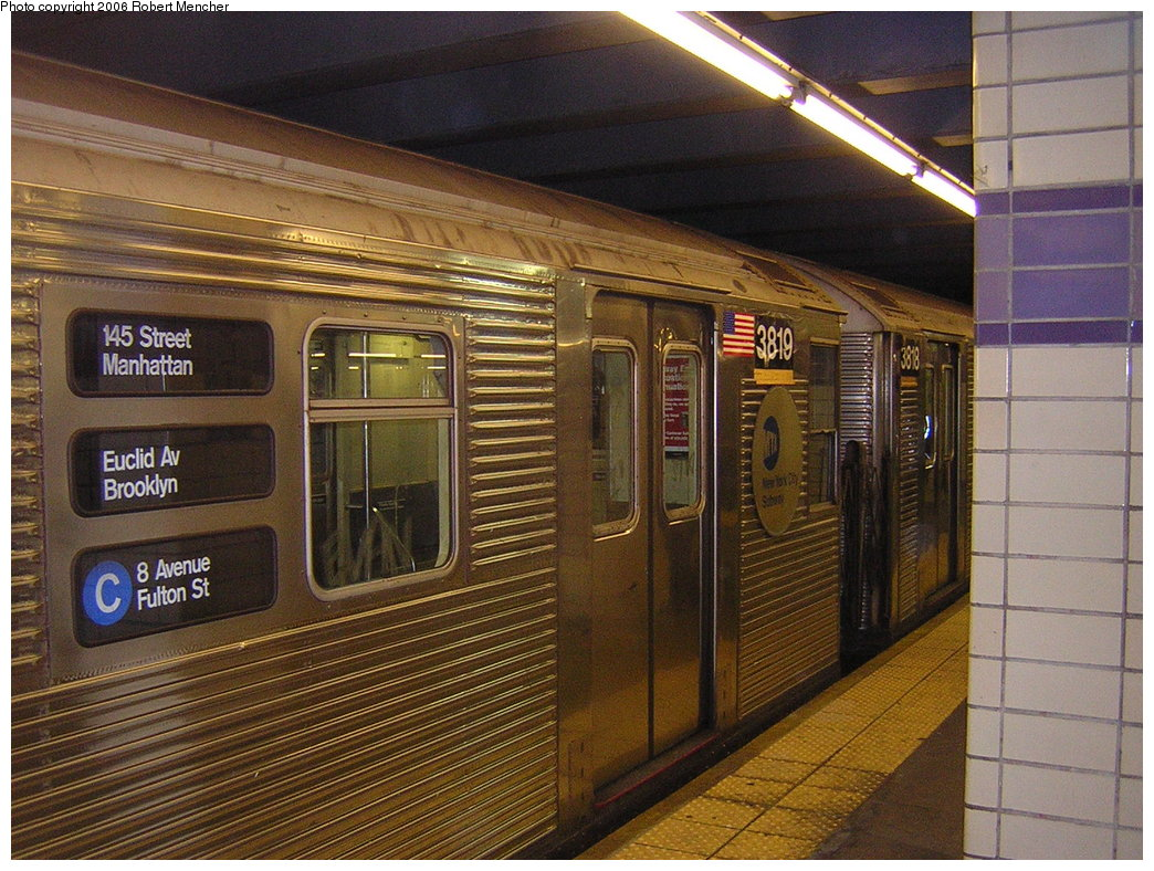 (256k, 1044x788)<br><b>Country:</b> United States<br><b>City:</b> New York<br><b>System:</b> New York City Transit<br><b>Line:</b> IND Fulton Street Line<br><b>Location:</b> Euclid Avenue <br><b>Route:</b> C<br><b>Car:</b> R-32 (Budd, 1964)  3819 <br><b>Photo by:</b> Robert Mencher<br><b>Date:</b> 3/25/2006<br><b>Viewed (this week/total):</b> 0 / 4091