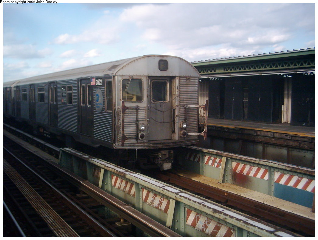 (162k, 1044x788)<br><b>Country:</b> United States<br><b>City:</b> New York<br><b>System:</b> New York City Transit<br><b>Line:</b> BMT Culver Line<br><b>Location:</b> Avenue X <br><b>Route:</b> F<br><b>Car:</b> R-32 (Budd, 1964)  3522 <br><b>Photo by:</b> John Dooley<br><b>Collection of:</b> Michael Hodurski<br><b>Date:</b> 3/24/2006<br><b>Viewed (this week/total):</b> 1 / 2509